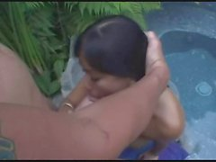 asian babe taking dick in the pool