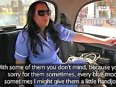 Busty nurse takes care of drivers cock in the backseat