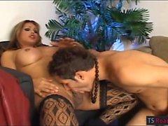 Huge tits tranny Penelope Jolie in stockings fucks horny guy