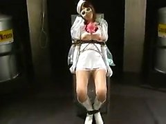 Kinky Oriental babe in white plays out her bondage fetish f