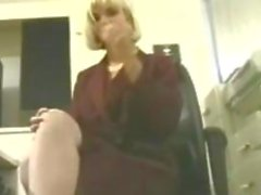 Blonde Secretary Masturbates With A Vibrator