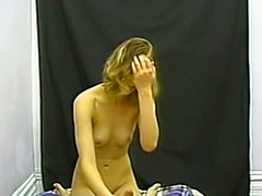 Perky blonde amateur jerks a hard cock while toying