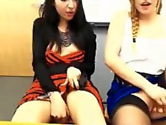 2 Girls Kiss and Masturbate In A Classsromm On Cam