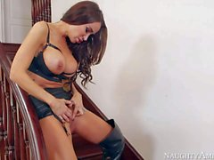 Stunning Sandee Westgate in high heel boots gets banged on stairs