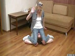 Blonde dominates her boyfriend and makes him kiss feet and sits on his face