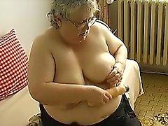 Old BBW Granny with big boobs masturbate with big dildo
