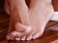 Loveherfeet - Super hot blonde has sneaky foot sex behind stranger's GF