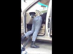 Latina Tight Jeans Carwash Voyeur