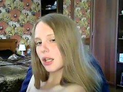 Blondi amatööri webcam teini masturboi