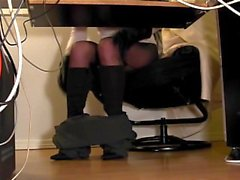 Compilation of secretary leg tease and masturbation in stockings and boots