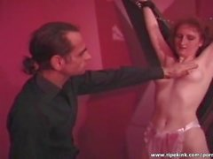Nasty dude spanking hot redhead slut