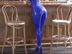Beautiful blonde latex fetish babe Natashas shiny outfit
