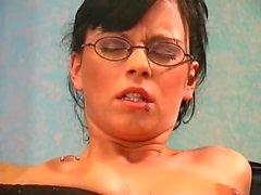 Pierced german girl toying her ass