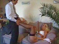 Nylon fetish and cum on stocking