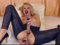 self anal fisting, toy play and gagging make-up whore