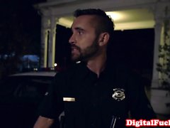 Nubian glam babe rides police officer cock