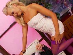 Astonishing beauties in stockings get rammed