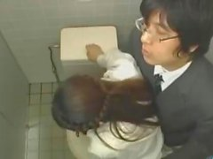 Office Lady Getting Her Hairy Pussy Licked in the bathroom