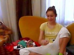 Caseiro namorada Natasha na sala
