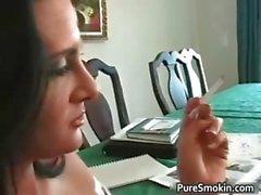 Attractive brunette honey smokes part5