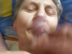 Cum on grannies lips