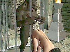 Hot brunette Babe Karikatur 3D von einem Werwolf fickte