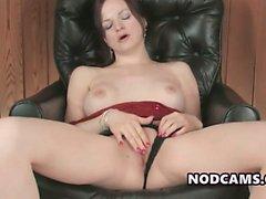Office masturbation by redheaded secretary