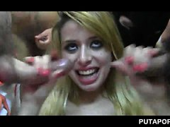 Slutty blonde fucked and bukkaked in orgy
