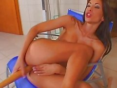 Horny Brunette Uses Deep Insertions To Get Off