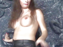 Solo Russian lady-man toying wazoo with vibrator
