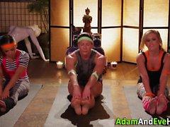Yoga lesbians in threeway