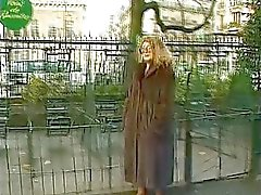 Mature in fur coat fucked and naked in public