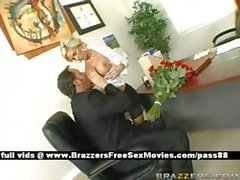 Mature busty blonde chick at work gets a blowjob