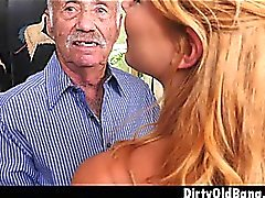 Blonde Teen Raylin Ann Taking On Three Old Men At Once