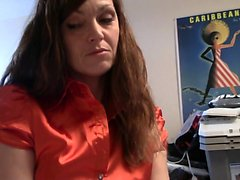 Slutty brunette mom plays with her nipples and teases with a big dildo