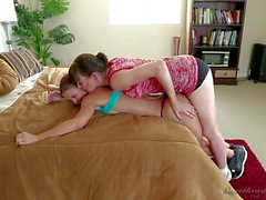 Lesbian girls Dana and Karlie in bedroom action