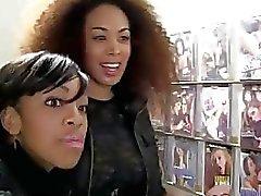 2 ebony teens find a white thug teasing them thru gloryhole