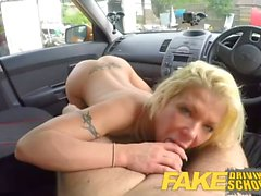 Fake Driving School Stunning blonde gets deep internal creampie on first le