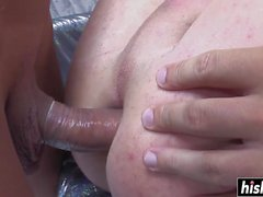 Horny guy gets fucked by shemales