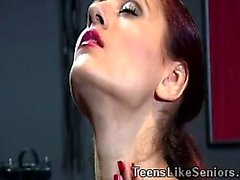 Young dominatrix plays with a horny old masochist