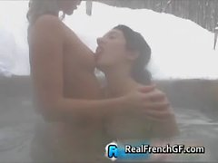 Two beautiful french teen gfs outdoor