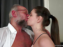 Angelina Brill engulfing an old mans schlong