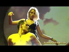 naked blonde lapdance on public stage