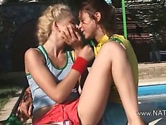 Vika and Natasha russians eating holes