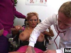 Girl with big tits sucked big cocks