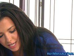Lingerie masseuse tugging