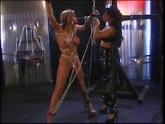 Blonde BDSM fetish roped gagged and pinched