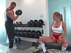 Hot blonde babe from TheRealWorkout goes
