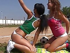 Sexy sporty teens licking pussies