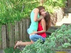 sexy brunette lesbians get horny making segment 13